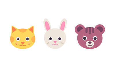 Cat hare, bear faces. Vector. Cute animal head. Cartoon happy kitten, bunny, bear character set. Sweet silhouette in flat design isolated. Collection icons on white background. Funny illustration.