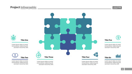 Puzzle diagram with six elements. Cycle chart, graph, layout. Creative concept for infographics, presentation, project, report. Can be used for topics like business, workflow, strategy.