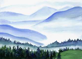 Hand drawn watercolor painting of a fir-tree or pine forest in front of blue foggy mountains in Switzerland, Lucern, view from Pilatus
