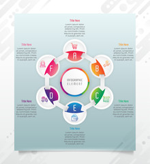 Circle option infographic vector design with 6 options &colorful style for presentation purpose.Modern option infographic can be used for business and marketing