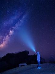 Night photography of milky way above Doi Hua Singh top of Doi Samur Dao, Sri Nan National Park, Nan, Thailand.