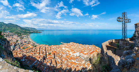Wall Mural - Aerial view of Cefalu and Mediterranean sea, seen from La Rocca park, Sicily island, Italy