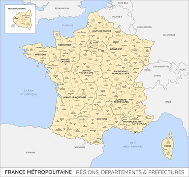 Carte de France - Régions, départements et préfectures