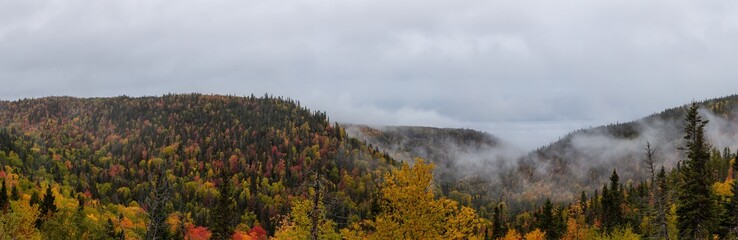 Beautiful panoramic view of Canadian Landscape on the Atlantic Ocean Coast during an Autumn Season. Taken near Grande-Vallee, Quebec, Canada.