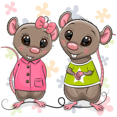 Two Cartoon Rats on a flowers background
