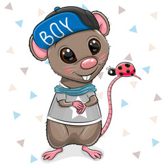 Cartoon Rat in cap on a white background