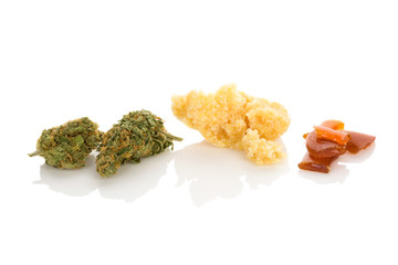 Cannabis concentrate shatter, bud and crumble.