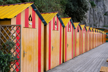 Beach Cabins in Sorrento, Naples, Italy