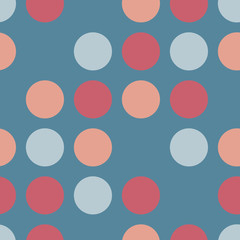 Circles Seamless Vector Pattern. Skipped dots blue, coral, pink. Feminine polka dots background for Trendy Home Decor, Feminine Fashion Prints, Cute Wallpaper, Girl Apparel Textiles, Packaging