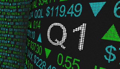 Q1 1st First Quarter Period Stock Market Ticker Words 3d Illustration Fotomurales