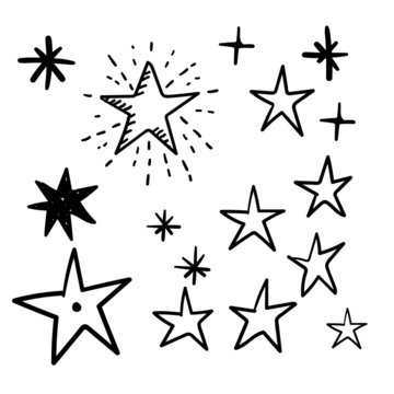 Hand drawn star doodles