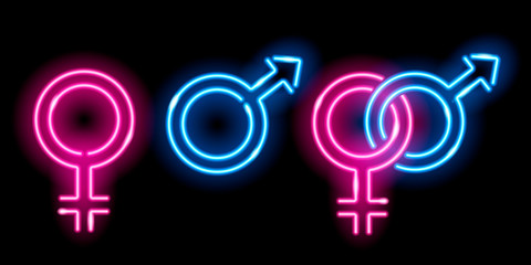 Neon glowing icons of venus and mars isolated on black background. Male and female sex symbols. Design elements. Vector 10 EPS illustration.