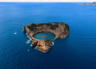 Aerial view of the Islet of Vila Franca do Campo - Azores - Portugal.
