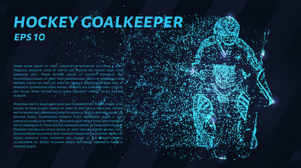 Hockey goalkeeper. Glowing dots to create a form of hockey.