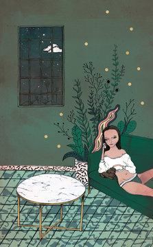 Frau liegt abends mit Welpen auf sofa