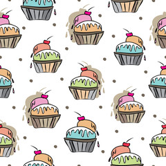 Ice Cream Delight-Sweet Dreams seamless repeat pattern illustration . Pattern background in pink, blue,orange,green, red, cream and brown. Fun Pattern background. Surface pattern design, Perfect for