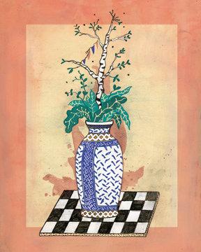 Russische Vase auf Schachbrett