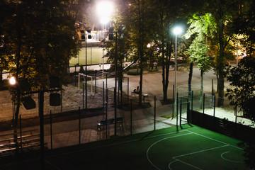 Soccer field at night.