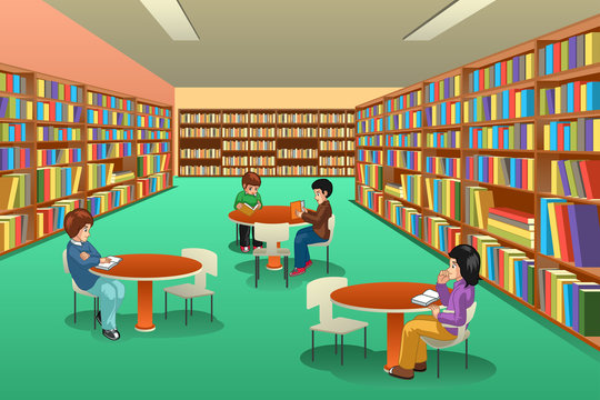 Group of School Kids Studying in Library Illustration
