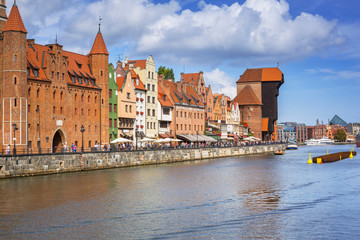 Old town of Gdansk reflected in Motlawa river, Poland