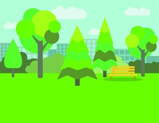 Vector cute flat park background