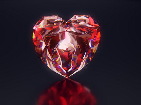 Red diamond heart on black background
