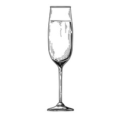 Champagne flute isolated on white background. Vector illustration on white background.