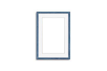 Blank photo frame mock up, grey blue  realistic wooden framework  isolated on white background