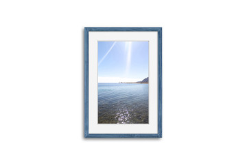 Frame mock up with sea view picture, grey blue realistic wooden framework isolated on white wall