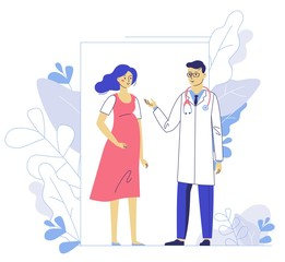 Medicine concept of pregnancy with doctor man and young girl patient in hospital. Practitioner and pregnant woman standing together. Consultation, medical examination and diagnosis.