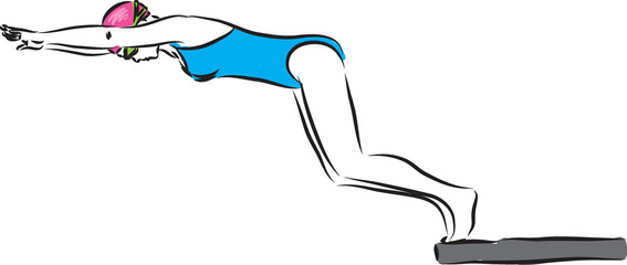 woman swimmer 2 strarting competition illustration