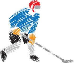 hockey player stroke brush illustration