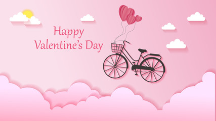 Valentine's Day background with illustrations of flying bikes
