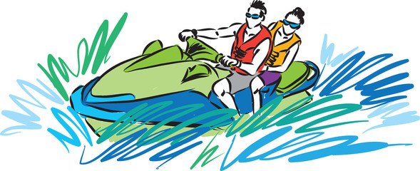couple in jet ski illustration
