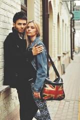 Stylish beautiful young couple outdoor