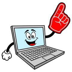 Computer Mascot with Foam Finger - A vector cartoon illustration of a Computer Mascot with a Foam Finger.