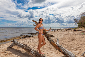 Woman in swimsuit and sunglasses posing on seashore