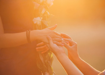 an application in marriage to sunset in the summer