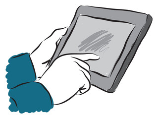man touching a tablet screen illustration