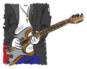 man playing a guitar illustration