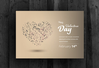 Valentine's Day Card Layout with Heart-Shaped  Particle Element