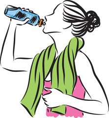 fitness woman drinking illustration