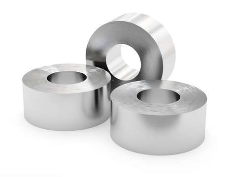 Steel sheets in roll, rolled metal product. Isolated on white background, clipping path. 3d illustration.