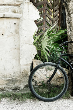 Parked bike in Tulum, Mexico