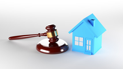 Blue house with judge gavel. 3D Rendering