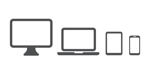 Device icon: Computer, laptop, tablet pc and phone set. Vector