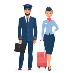 Pilot and stewardess in uniform isolated flat vector illustration.