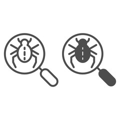 Bug searching line and glyph icon. Magnifying glass and beetle vector illustration isolated on white. Computer virus outline style design, designed for web and app. Eps 10.