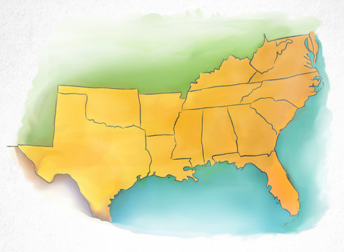 Watercolor map of USA southern region