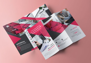 Trifold Brochure Layout with Pink Accents